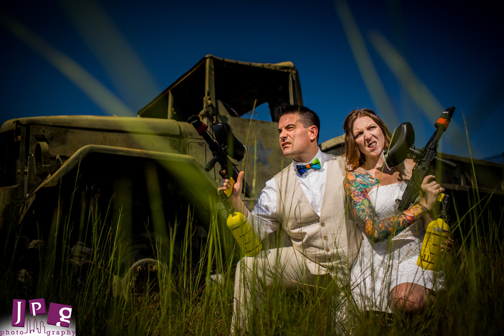 Not your Normal Wedding: Paintball Trash the Dress!