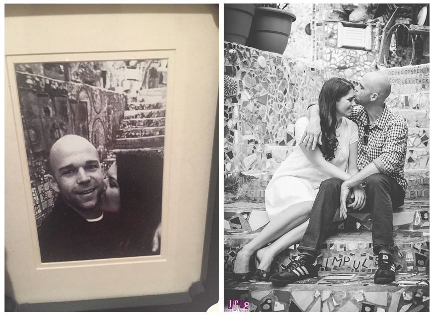 Kate and Zac exchange kisses at the same staircase in Philadelphia's Magic Garden on their first date (left) and at their engagement session (right) with JPG Photography.